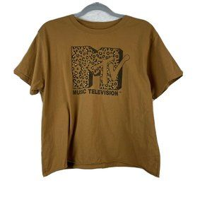 MTV Brown Animal Print MTV Logo Cropped Raw Hemmed